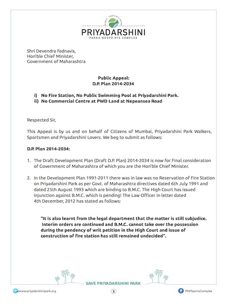 Letter to Chief Minister - Page 1